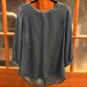 Ann Taylor lightweight denim zip back tunic sz4